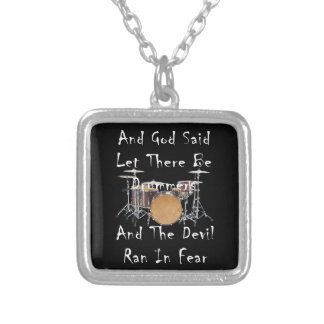 Let there Be Drummers Silver Plated Necklace