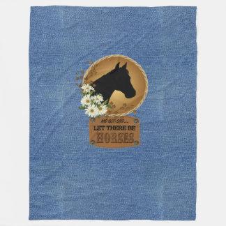 Let there be Horses Denim l@@k Fleece Blanket