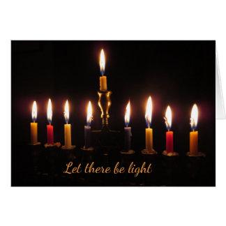 Let there be light menorah Hanukkah card