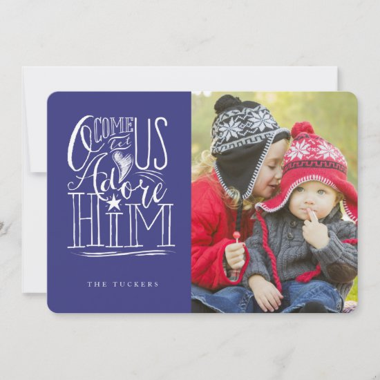 Let Us Adore Him 5x7 Christmas Photo Greeting Card