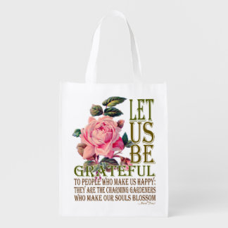 Let Us Be Grateful Pink Rose - Grocery Bag