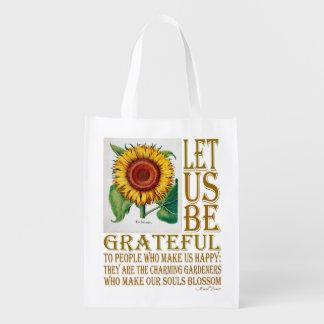 Let Us Be Grateful-Sunflower - Grocery Bag