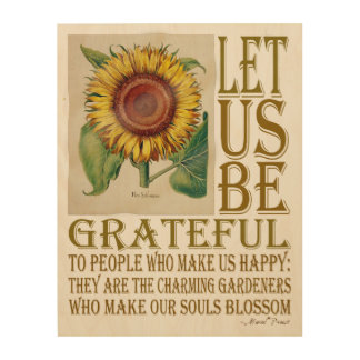 Let Us Be Grateful-Sunflower - Wood Canvas 1 Wood Wall Art