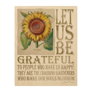 Let Us Be Grateful-Sunflower - Wood Canvas 2 Wood Wall Art