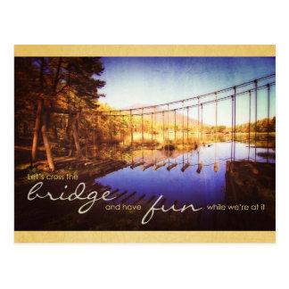 Let Us Cross Bridge While Having Fun Wood Log Rope Post Card
