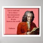 Let us dance - Voltaire quote - art print