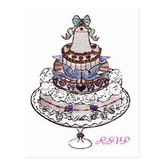 Let Us Eat Cake  ~ Wedding RSVP Potcard Postcard