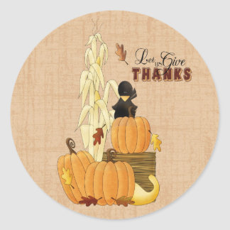 Let us give Thanks Classic Round Sticker