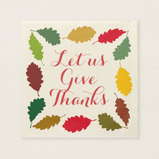 Let us Give Thanks Thanksgiving Autumn Feast Paper Napkin