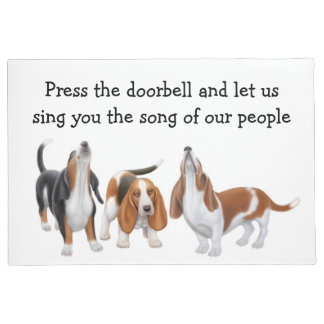 Let Us Sing Basset Hounds Customizable Doormat