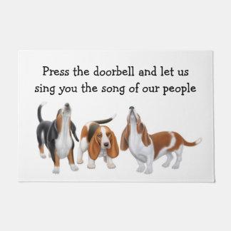 Let Us Sing Basset Hounds Customizable Doormat