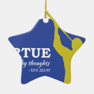 """Let Virtue Garnish Thy Thoughts"" Angel Moroni Ceramic Ornament"