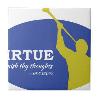 """Let Virtue Garnish Thy Thoughts"" Angel Moroni Tile"
