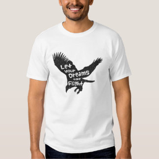 Let Your Dreams Take Flight Eagle Black Grunge Tee Shirt