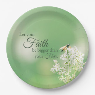 """""""Let your Faith…"""" Christian Quote Floral Flower Paper Plate"""