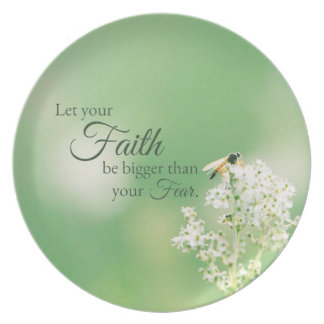 """""""Let your Faith…"""" Christian Quote Floral Flower Plate"""