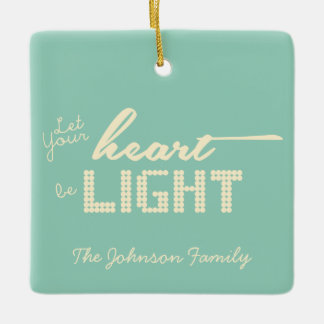 Let your heart be light - green and cream ceramic ornament