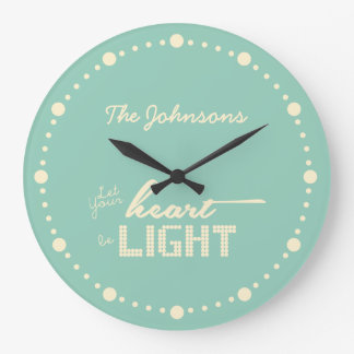 Let your heart be light - green and cream large clock