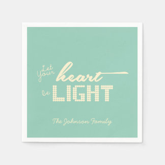 Let your heart be light - green and cream napkin