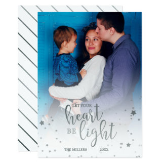 Let Your Heart Be Light Silver Holiday Photo Card