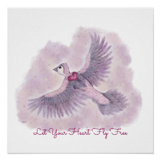 Let Your Heart Fly Free Fantasy Magical Sentiment Poster