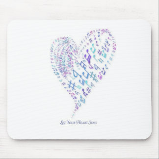 Let Your Heart Sing - Heart made of musical notes Mouse Pad
