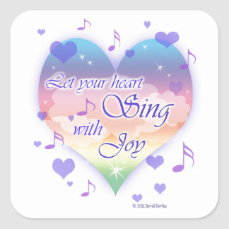"""""""Let Your Heart Sing With JOY"""" Notes Sticker"""