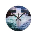 Let your light shine BIBLE VERSE art Round Wall Clocks
