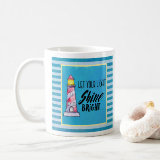 Let Your Light Shine Bright Lighthouse Typography Coffee Mug
