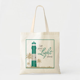 """Let your light shine!"" Lighthouse Tote Green"