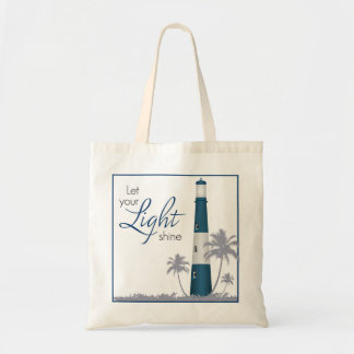 """""""Let your light shine!"""" Lighthouse Tote Navy"""