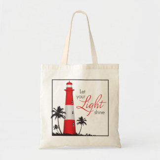 """Let your light shine!"" Lighthouse Tote Red"