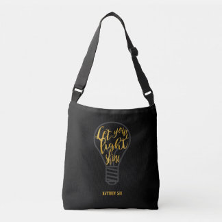 Let Your Light Shine, Matthew 5:16 Black and Gold Tote Bag