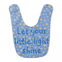 Let Your Little Light Shine Gold Stars Blue Baby Bib