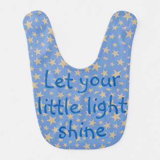 Let Your Little Light Shine Gold Stars Blue Baby Bib