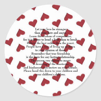 let your love be stronger classic round sticker