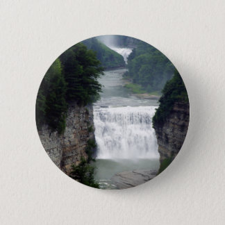 Letchworth State Park Upper and Middle Waterfalls Pinback Button