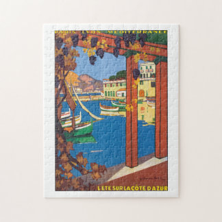L'Ete Sur La Cote D'Azur Vintage Travel Poster Puzzle