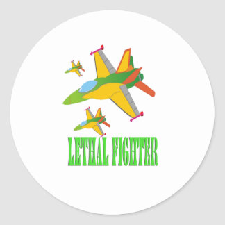 Lethal fighter classic round sticker