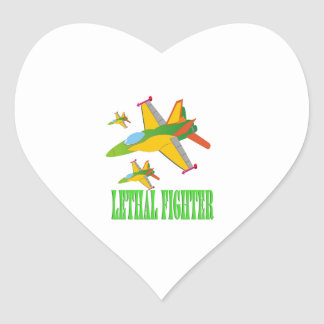 Lethal fighter heart sticker
