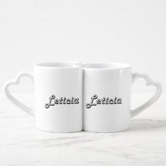 Leticia Classic Retro Name Design Couples' Coffee Mug Set
