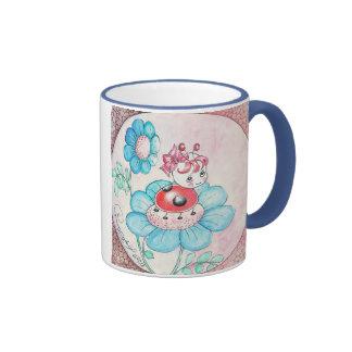 Letitia Ladybug On Flower Mugs