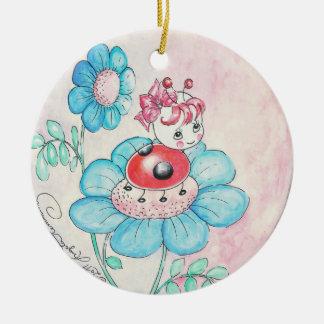 Letitia Ladybug On Flower Double-Sided Ceramic Round Christmas Ornament