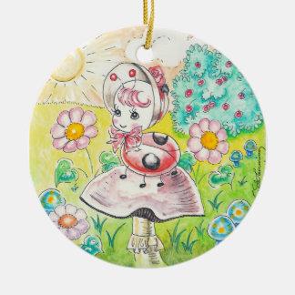 Letitia Ladybug Double-Sided Ceramic Round Christmas Ornament