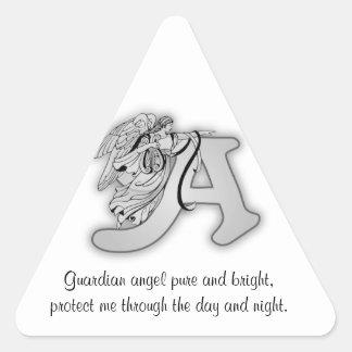 Letra A de ángel de guarda Pegatina Triangular
