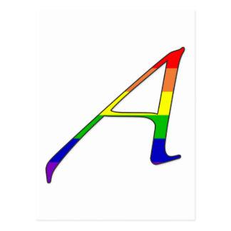 Letra A del escarlata del orgullo lesbiano y hom Tarjeta Postal