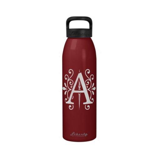 Letra A del monograma Botellas De Agua Reutilizables