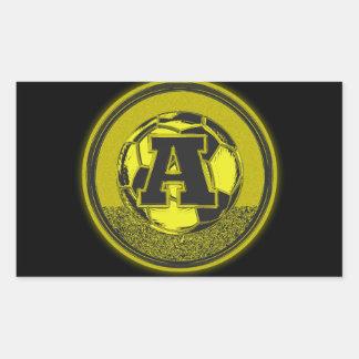 Letra A del monograma del fútbol de la medalla de Pegatina Rectangular