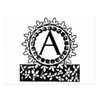 Letra A del monograma del Victorian del vintage Tarjeta Postal