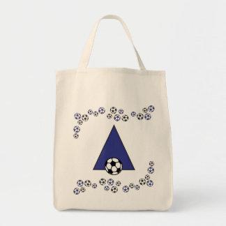 Letra A en tote azul del monograma del fútbol Bolsa De Mano
